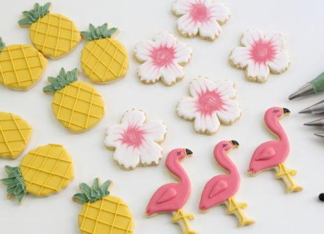 Rezept und Anleitung für Flamingo und Ananas Kekse