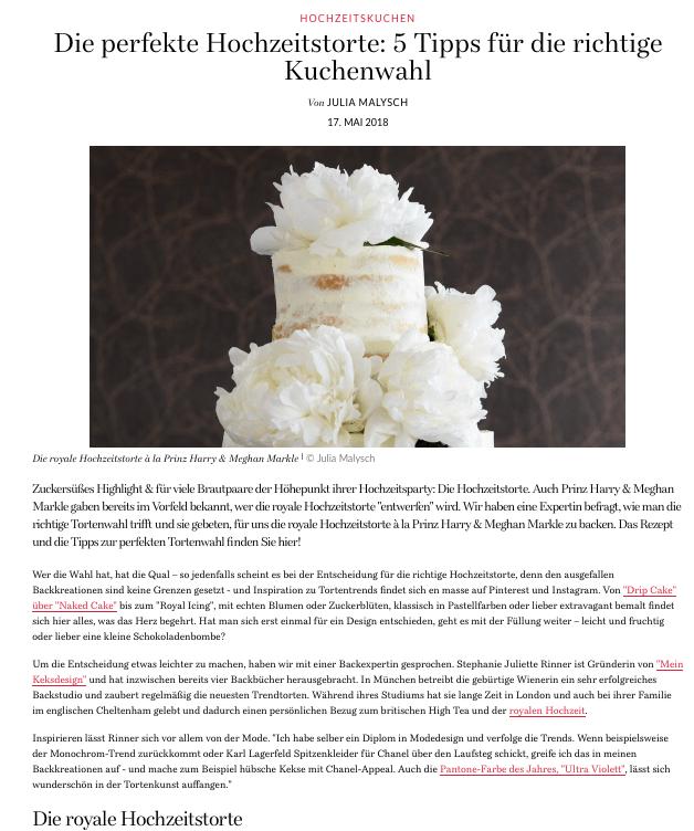 Stephanie Juliette Rinner von Mein Keksdesign kreiert die perfekte Hochzeitstorte zur Royal Wedding