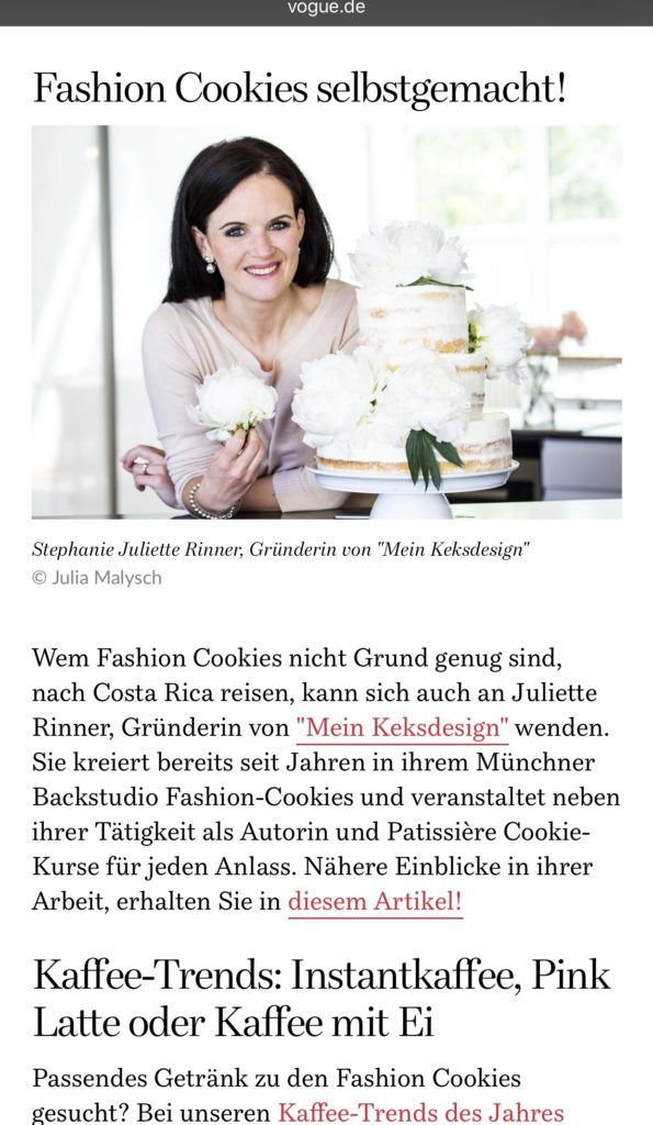 Fashion Cookies, Backkurs Mein Keksdesign München