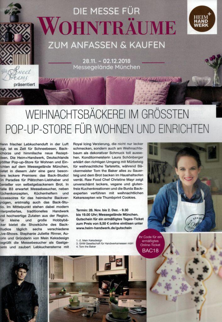 Stephanie Juliette Rinner mit Mein Keksdesign auf der Heim+Handwerd und FOOD & Life 2018 in München