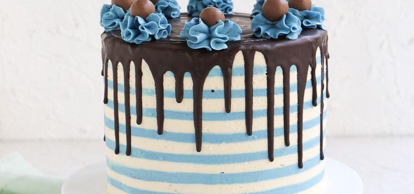 Torten Trend Streifentorte -Striped Drip Cake mit Buttercreme