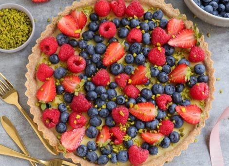 Tarte süß mit Pudding und Früchten alias Obstkuchen
